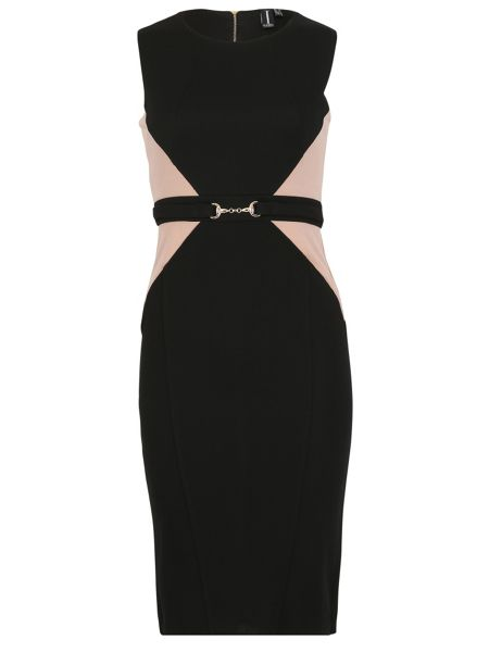 Izabel London Contrast Panel Shift Dress With Belt