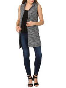 Izabel London Sleeveless Monochrome Knit Jacket