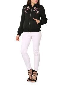 Izabel London Zip Up Embroidered Bomber Jacket