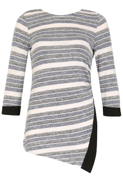 Izabel London Monochrome Stripe Wrap Top