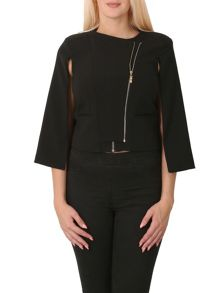 Izabel London Double Zip Cape Jacket