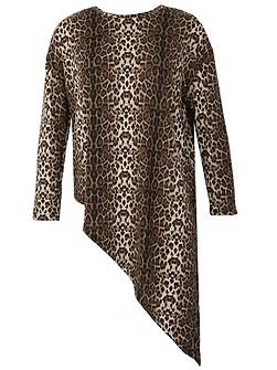 Leopard Print Asymmetric Knit Top
