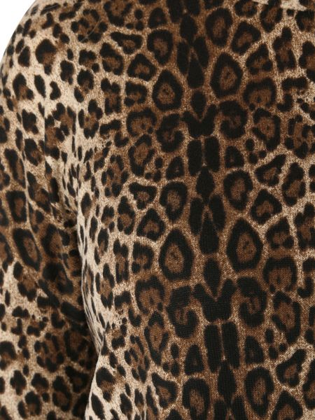Izabel London Leopard Print Asymmetric Knit Top