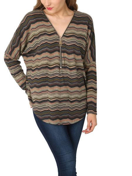 Izabel London Chevron Batwing Top