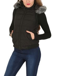 Izabel London Faux Fur Hooded Vest