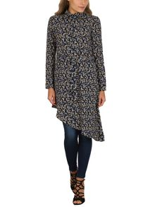 Izabel London Asymmetric Printed Shirt Dress