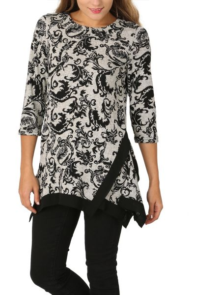 Izabel London Long Sleeve Floral Print Trim Detail Top