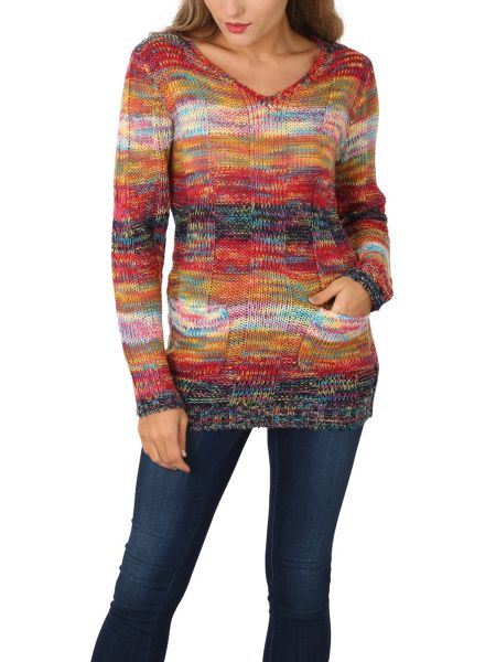 Izabel London V Neck Multicoloured Pullover