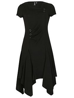 Cap Sleeve Button Detail Dress