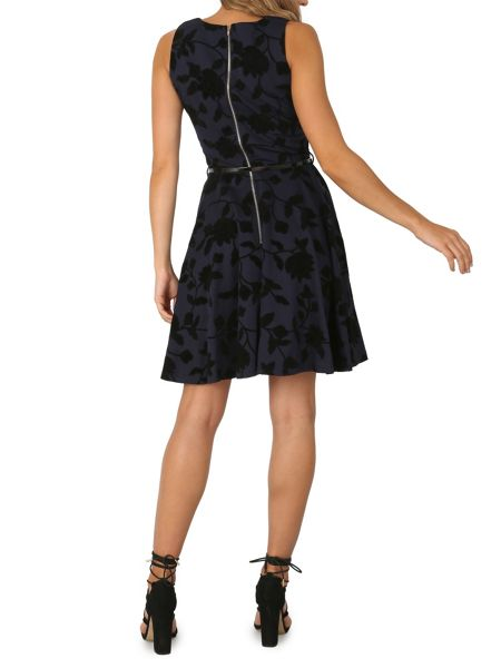 Izabel London Dress with Flocked Floral Print