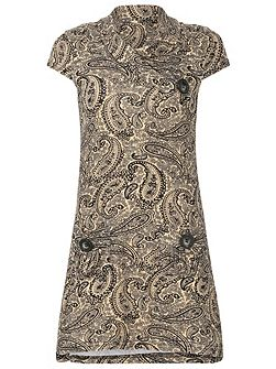 Paisley Button Detail Dress