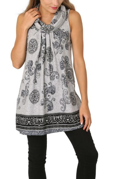 Izabel London Cowl Neck Patterned Tunic