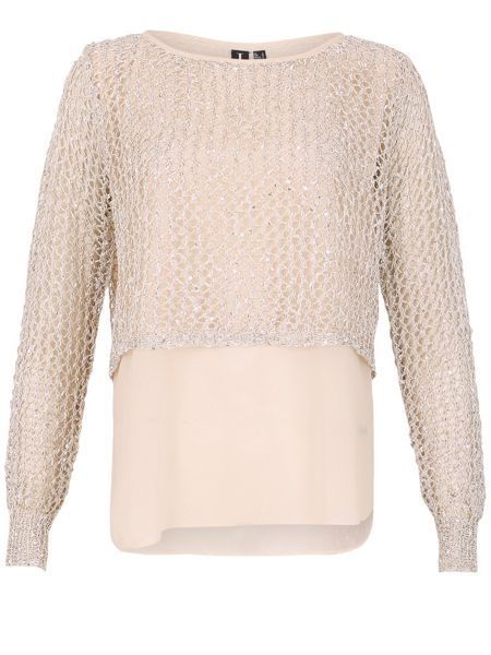 Izabel London Layered Mesh Detail Pullover