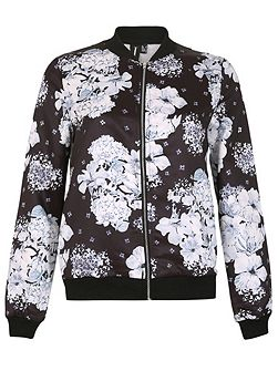Zip-Up Floral Bomber Jacket