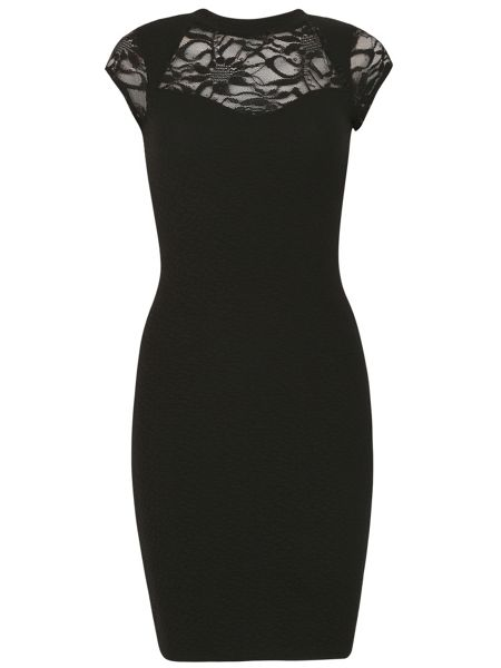 Izabel London Roll Neck Bodycon Lace Inserts Dress