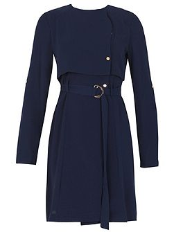 Cape Style O-Ring Belted Dress