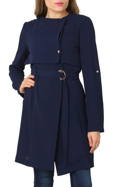 Izabel London Cape Style O-Ring Belted Dress