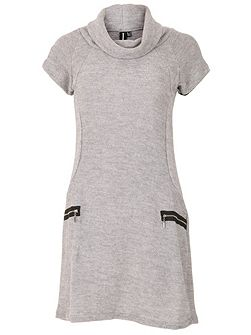Roll Neck Knit Dress with Zip Details