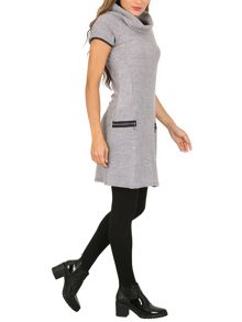 Izabel London Roll Neck Knit Dress with Zip Details