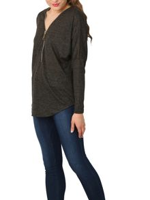 Izabel London Batwing Knit Top with Oversized Zip
