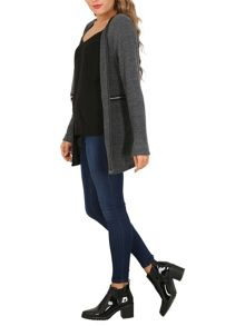 Izabel London Monochrome Cardigan with Zip Details