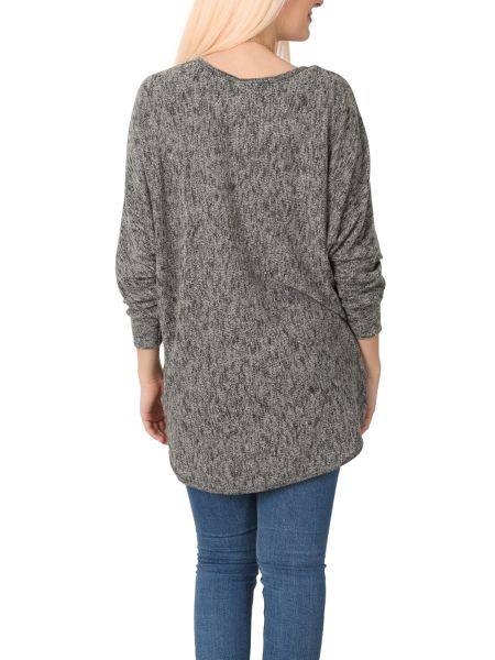 Izabel London Batwing Knit Top with High Low Hem