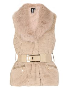 Izabel London Faux Fur Belted Gilet
