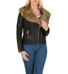 Izabel London Fur Collar Fitted Faux Leather Jacket