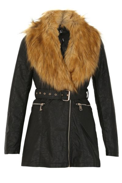 Izabel London Fur Collar Belted Jacket