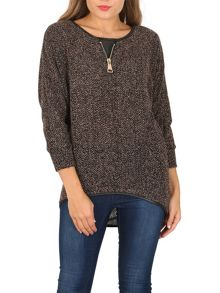 Izabel London Boucle Decorative Zip Detail Top