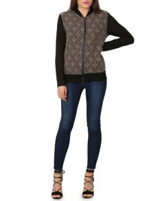 Izabel London Zip-Up Contrast Bomber