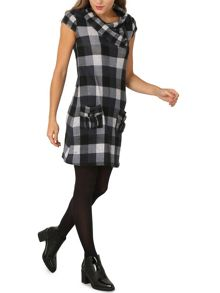 Izabel London Cowl Neck Tunic Dress Wich Check Print