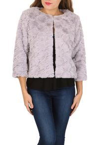 Izabel London Collarless Faux Fur Jacket
