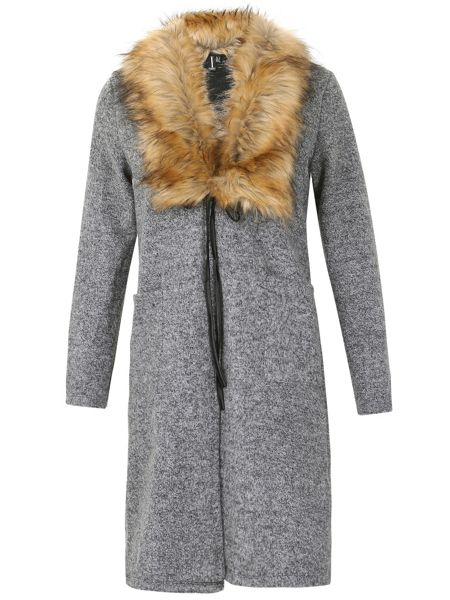 Izabel London Faux Fur Collared Cardigan
