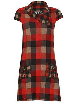 Cowl Neck Tunic Dress Wich Check Print