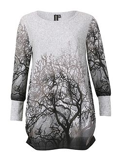 Long Sleeve Forest Print Top