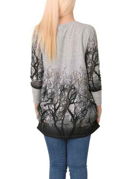 Izabel London Long Sleeve Forest Print Top