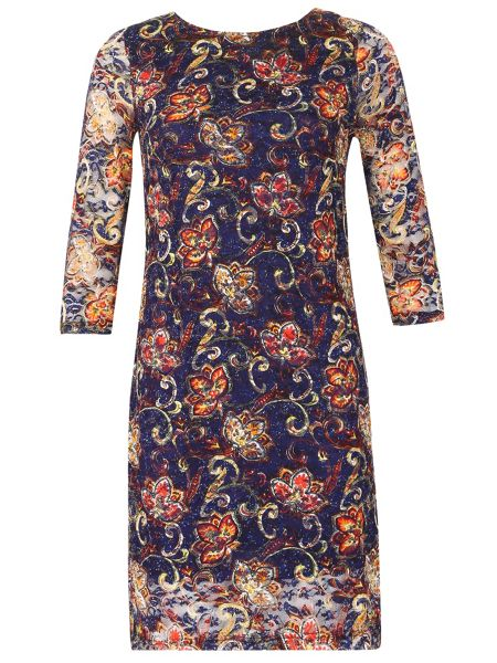 Izabel London Boat Neck Floral Lace Midi Dress