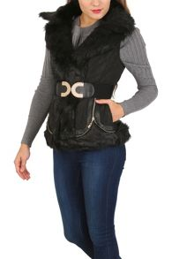 Izabel London Luxe Padded Gillet With Faux Fur Collar
