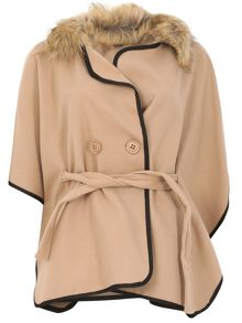 Izabel London Belted Faux Fur Batwing Coat