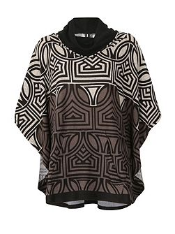 Cowl Neck Abstract Print Poncho