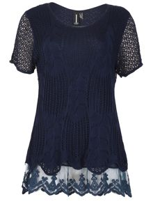 Izabel London Crochet Style Feature Hem Top