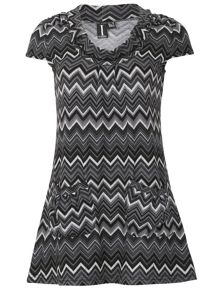 Izabel London Cap Sleeve Geo Print Minidress