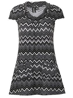 Cap Sleeve Geo Print Minidress