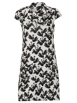 Swan Print Button Detail Dress