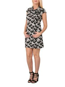 Izabel London Swan Print Button Detail Dress