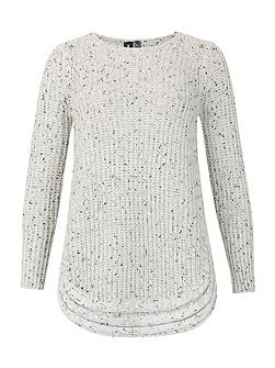 Ribbed Knitted Jumper With Rounded Hem