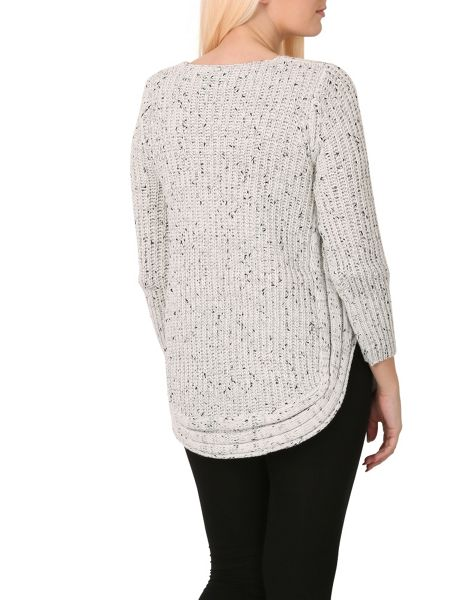 Izabel London Ribbed Knitted Jumper With Rounded Hem