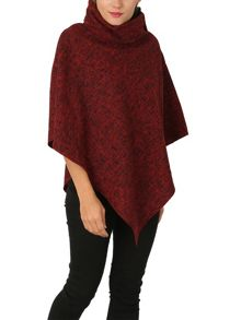 Izabel London Polo Neck Poncho With Button Detail