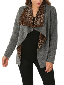 Izabel London Leopard Collar Easy Jacket